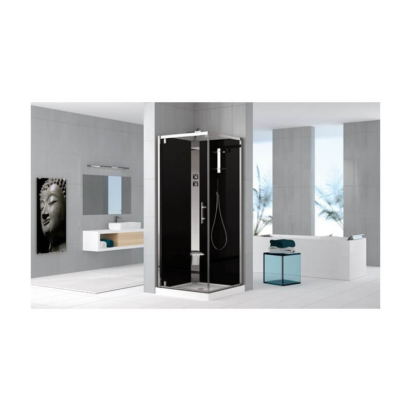 cabine de douche holiday crystal 2 g80 g90 porte g f avec paroi r versible de la marque novellini. Black Bedroom Furniture Sets. Home Design Ideas