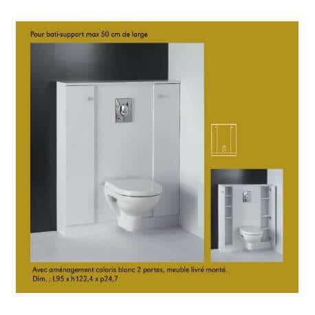 meuble pour wc suspendus 50cm de largeur gamme bloc miroir