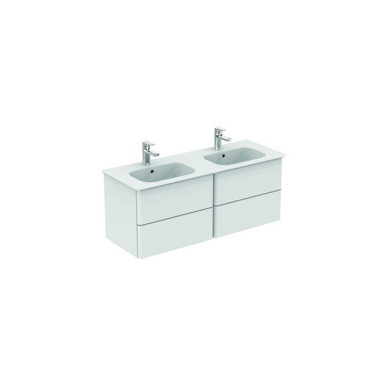 Meuble lavabo pour plan double 120 cm softmood ideal standard for Meuble lavabo double