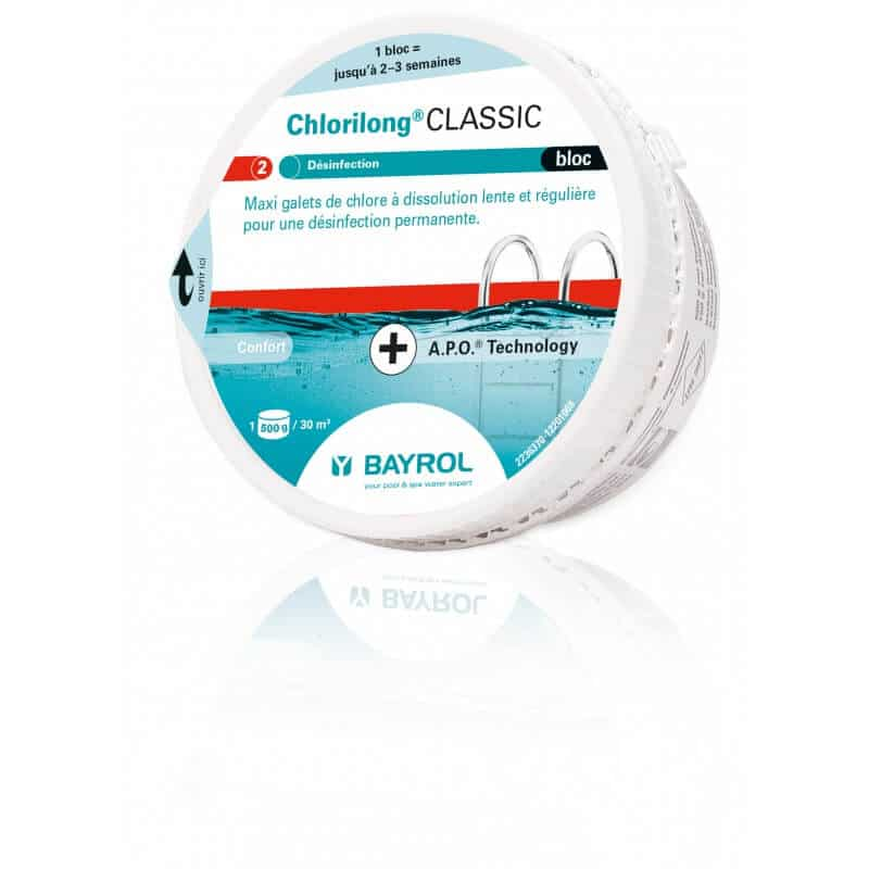 Chlorilong 500 classic bloc pour piscine 0 5 kg ou 10 kg for Concentration chlore piscine