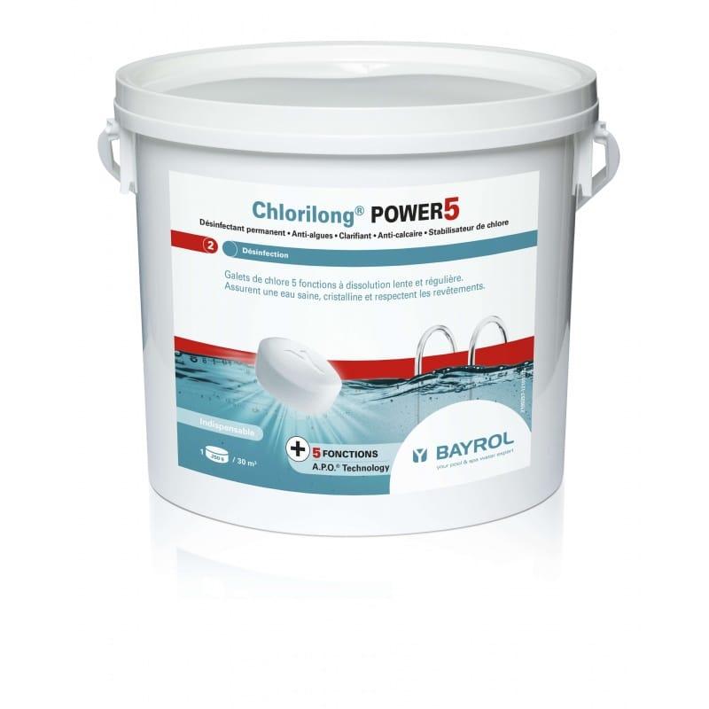 Chlorilong 5 fonctions power 5 5kg ou 10 kg 5 fonctions for Piscine au sel ou au chlore