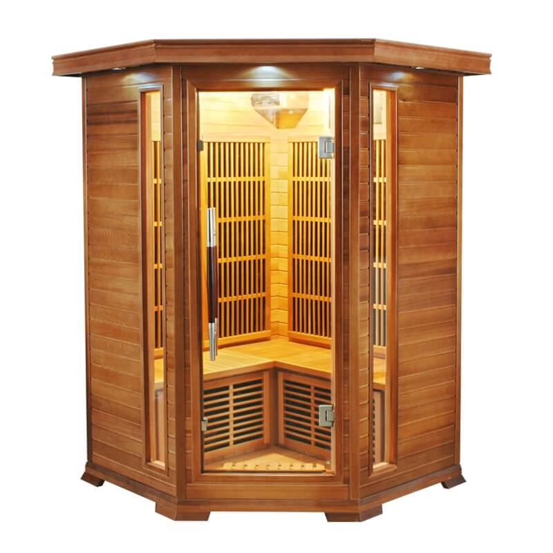 cabine sauna infrarouge angulaire luxe france sauna 2 3. Black Bedroom Furniture Sets. Home Design Ideas