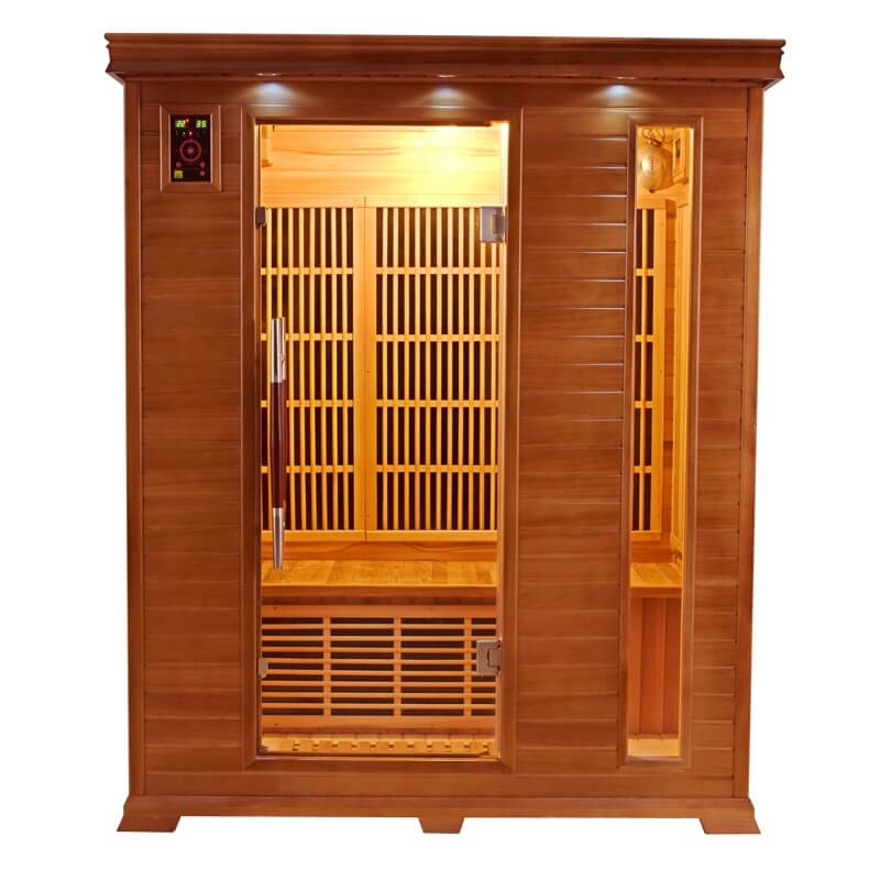 cabine sauna infrarouge angulaire luxe france sauna 3 places. Black Bedroom Furniture Sets. Home Design Ideas