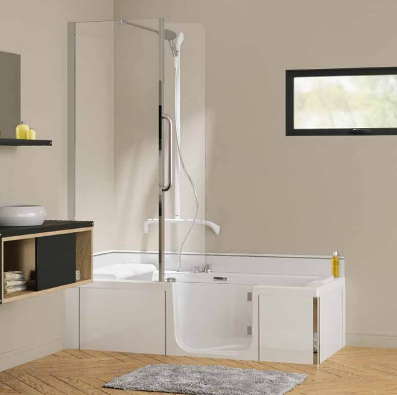 bain douche duo pack kinedo en angle t te droite avec tablier en verre blanc. Black Bedroom Furniture Sets. Home Design Ideas