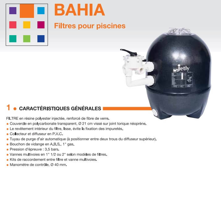 Ensemble de filtration bahia 450 piscine jetly jetly bahia for Produits pour piscine